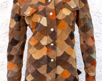 Vintage Leather Suede Scalloped Patchwork Jacket Top