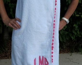 circle monogram towel wrap with pom pom fringe