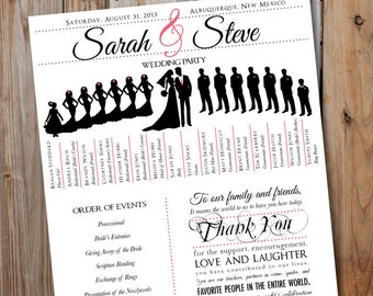 Wedding Party Silhouette Download Program With Silhouettes Digital Printable