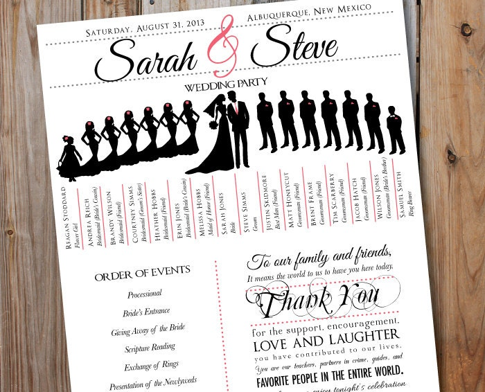 Wedding Program With Wedding Party Silhouettes Digital