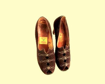Vintage 1920 Brown Leather Flapper Shoes Leather Suede Peeptoe Pumps
