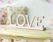 1/12th Miniature Shabby Chic Pink Wooden Standing 'LOVE' Sign - sarahslilessentials