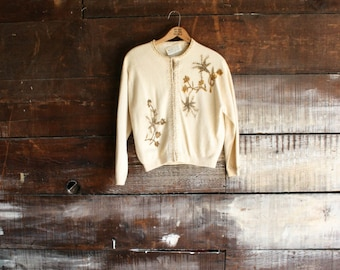 50s canary hand-beaded wool cardigan