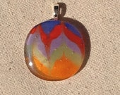 Multi Color Sand Art Style Fused Glass Pendant Necklace