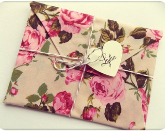 Will you be my bridesmaid, Card, Wedding Invitation, bridesmaid reveal. floral fabric envelopes tied with baker's twine