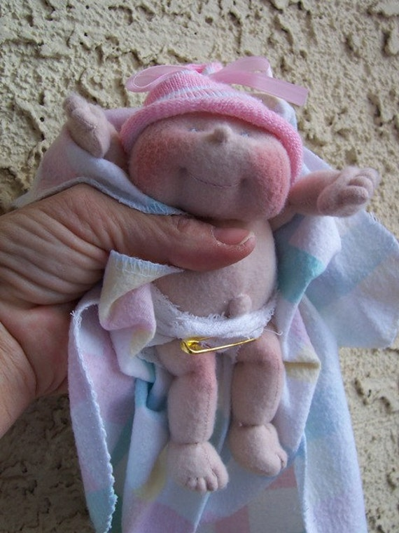 Items Similar To Cloth Soft Sculpture Tiny Baby Doll