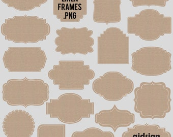 Linen Frames Digital Linen Label Images  PNG scrapbooking cardmaking personal and commercial use instant download