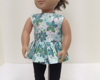 "Green Floral Summer Set   - Fits 18"" American Girl Doll and all other 18"" Dolls"