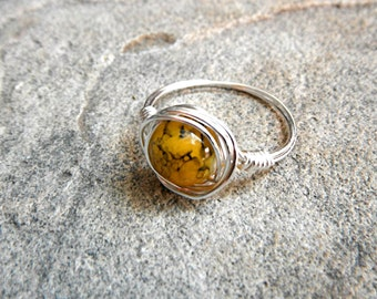 Yellow Glass Ring, Wire Wrapped Ring, Silver Ring, Yellow Ring, Wire Wrapped Jewelry Handmade, Glass Bead Ring, Chunky Ring, Statement Ring
