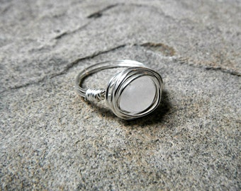 White Jade Ring, Wire Wrapped Ring, White Stone Ring, White Ring, Wire Wrapped Jewelry Handmade