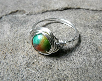 Chinese Jade Ring, Wire Wrapped Ring, Jade Stone Ring, Jade Wire Wrapped Ring, Wire Wrapped Jewelry Handmade, Green Jade Ring