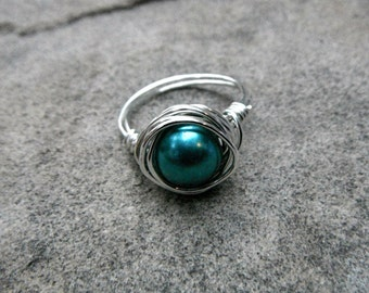 Teal Blue Pearl Ring, Wire Wrapped Ring, Blue Ring, Pearl Wire Wrapped Ring, Wire Wrapped Jewelry Handmade, Light Blue Ring