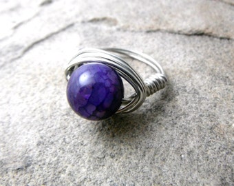 Purple Agate Ring, Wire Wrapped Ring, Purple Ring, Wire Wrapped Jewelry Handmade, Purple Stone Ring, Agate Jewelry