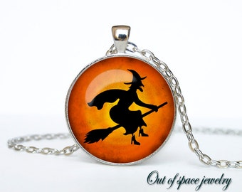 Halloween witch  necklace Halloween pendant Halloween jewelry Gothic  Pendant