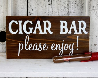 CIGAR BAR 5 1/2 x 11 Self Standing Rustic Wedding Signs