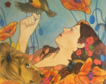 She Asked the King for a Singing Soaring Lark (from Grimm's Fairy Tales)- limited edition print of original mixed media painting