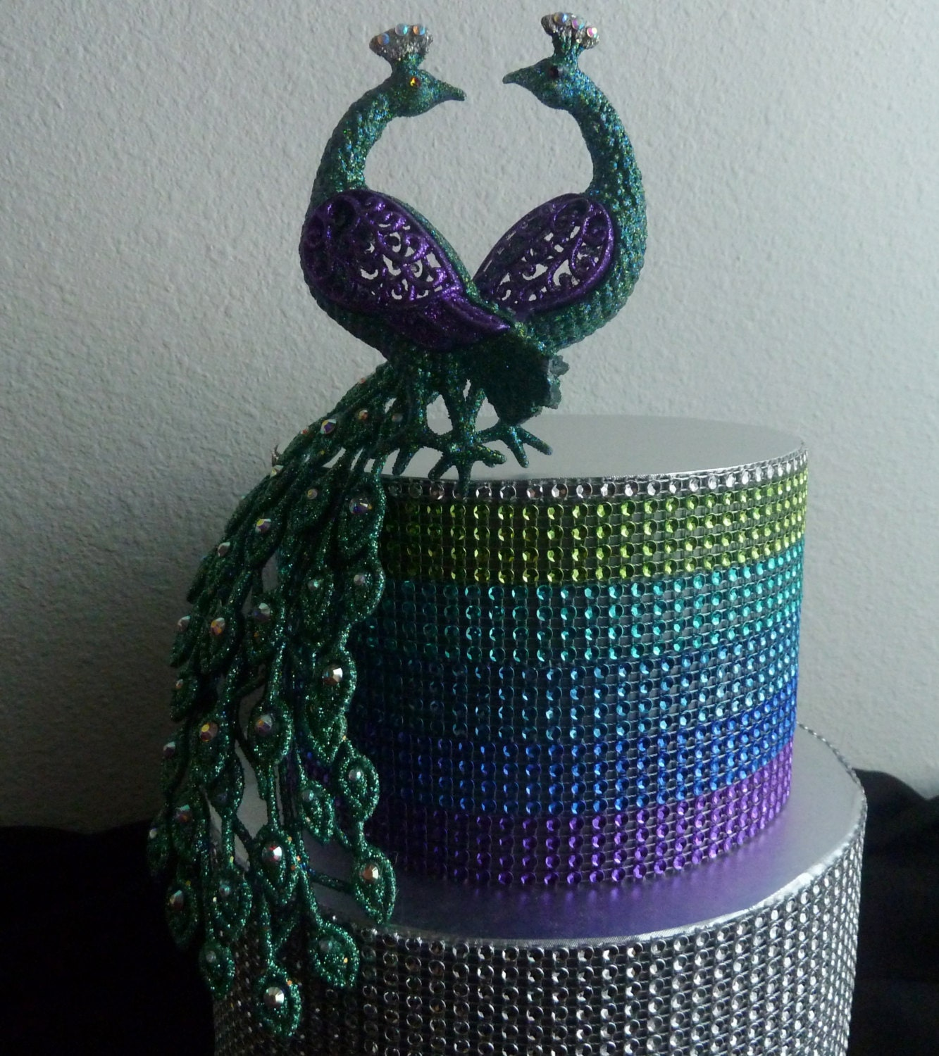 rhinestone peacock cake topper love birds purple turquoise