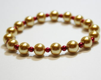 Stretch Bracelet, Pearl Bracelet, Red and Gold Bracelet, OOAK Jewelry