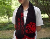 Knit Game of Thrones War Banner Scarf with house sigils and words Targaryen, Stark, Lannister, Tyrell, Martell, Greyjoy