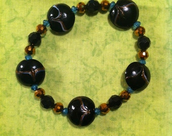 Black Lampwork Glass Bracelet