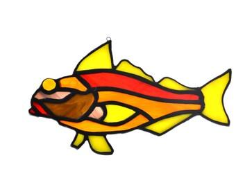 Stained glass fish salmon suncatcher, window ornament, hanging home decor yellow orange brown colourur