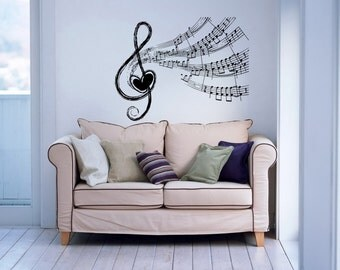Note Notes Waves Heart Musical Treble Clef Housewares Wall Vinyl Decal Sticker Design Interior Decor Bedroom Recording Music Studio SV4124