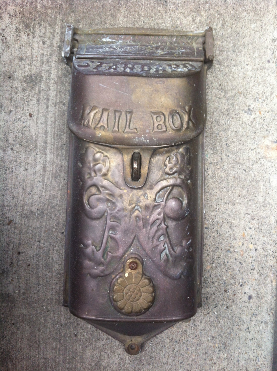 Antique Brass Mailbox Vintage Mail Box Wall Mount