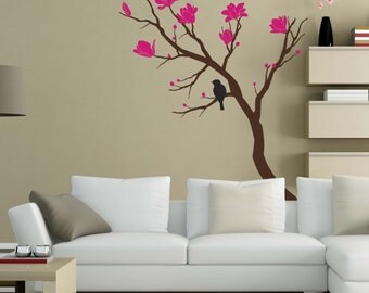 Bird Sitting On Branches with Magnolias Vinyl Decal for your walls.