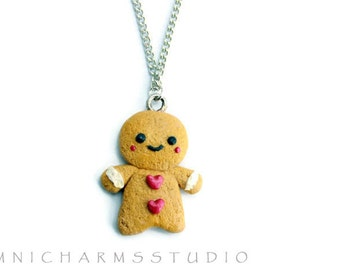Kawaii Cute Gingerbread Man Cookie Necklace - Polymer Clay Charm