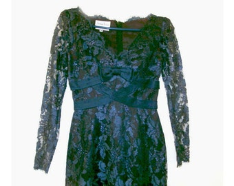 Navy Blue Vintage Lace dress   Size 4