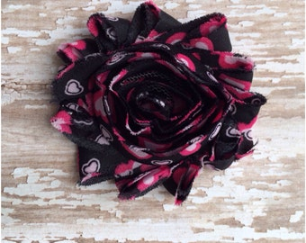 SALE Black and Pink Hearts Flower Hair Clip, Hearts Barrette,  Alligator Clip, Black & Pink Flower Clip, Headband Clip, Toddler Hair Bow