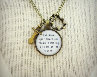 Put Down Your Sword and Crown Handcrafted Brass Pendant Necklace
