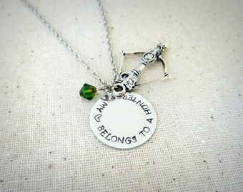 My Heart Belongs To A Hunter Hand Stamped Charm Necklace