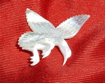 Vintage 1960's Mother Of Pearl Hummingbird In Flight Brooch Pin - Free Shipping