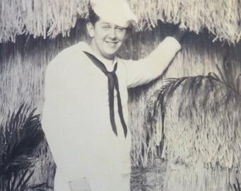 Original 1940's World War II US Sailor Poses By Hawaiian Hut Photo Studio Photo - Free Shipping