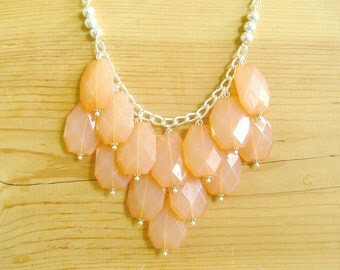 Coral bib necklace, Peach statement necklace, coral statement necklace