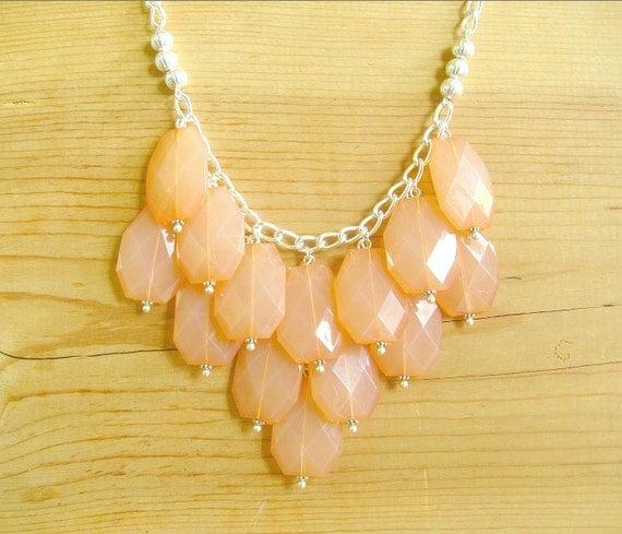 Coral bib necklace, Peach statement necklace, coral statement necklace