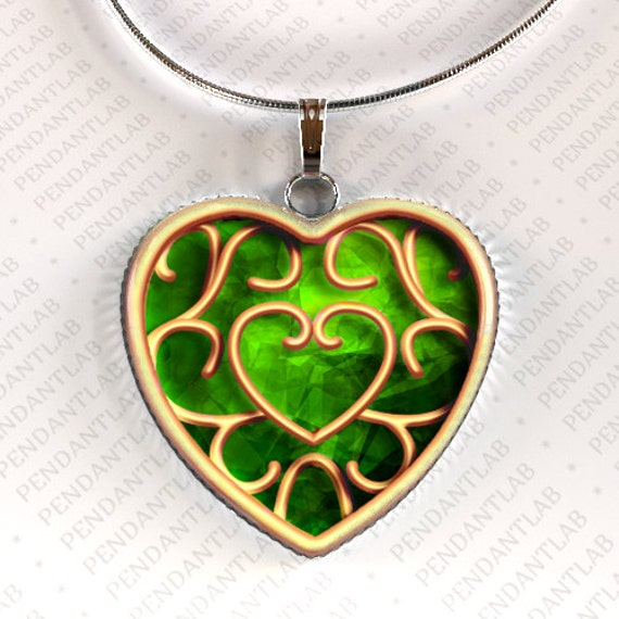 Zelda Heart Container Necklace: Green Heart Container Pendant Piece Of Heart Legend By