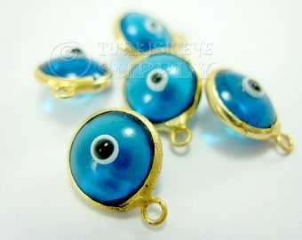 10 pc Glass Evil Eye Charms Translucent Blue Glass Evil Eye, Good Luck Charms Matte 22K Gold Plated Turkish Jewelry Turkish Findings