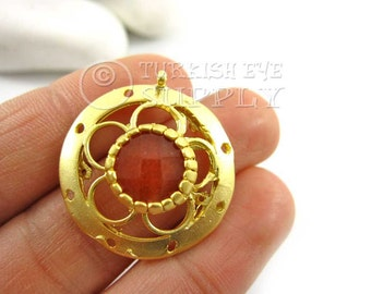 Gold Circle Pendant with Burnt Orange Jade, Orange Gemstone Pendant, 22K Gold Plated Bezel Set Turkish Jewelry