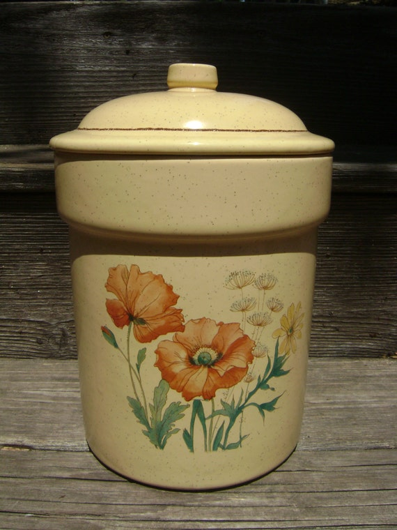 Vintage Treasure Craft Wildflowers Canister Cookie Jar With