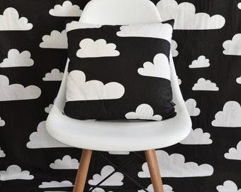 Swedish Scandinavian Farg & Form Clouds fabric - Per metre - Black and White