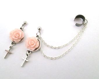 Dainty rose cabochon with cross ear cuff wrap, flower earrings, cross cuff, cross rose earrings