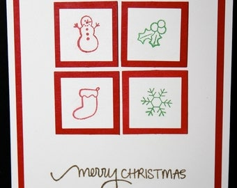Crisp red and white traditional Christmas card