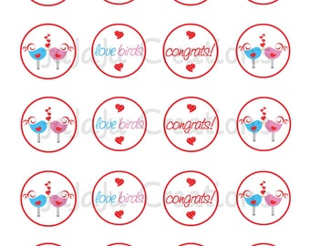 Love Birds Cupcake Toppers - Instant Download Printable