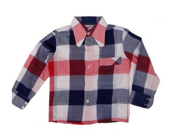 vtg / /FRENCH 70's MOD  plaid shirt // size 4 years old