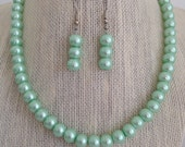 1930s Jewelry | Art Deco Style Jewelry Mint Seafoam Green Bridal Jewelry Set Seafoam Green Wedding Necklace Mint Green Wedding Green Pearl Necklace Bridesmaid Jewelry Gift $20.00 AT vintagedancer.com