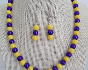 Purple and Yellow Necklace, Bridesmaid Jewelry, Beaded Necklace, Purple and Yellow Wedding, Bridesmaid Gift