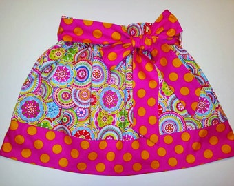 SAMPLE SALE Bright Multi Bodilla Packed Medallions Skirt with Detachable Sash