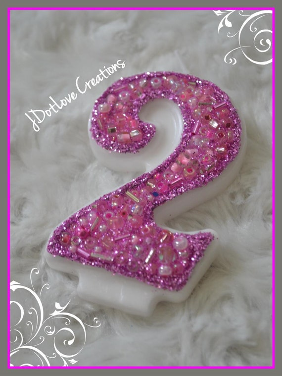 Sparkly Pink Number 2 Birthday Candle